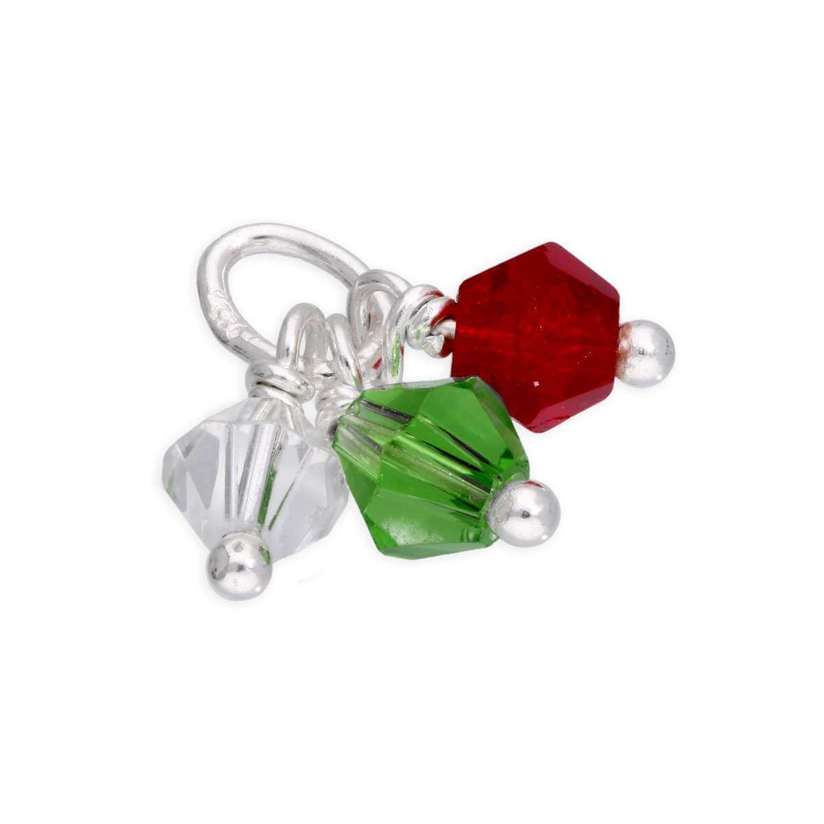 Sterling Silver Triple Multi Coloured CZ Crystal Bead Charm