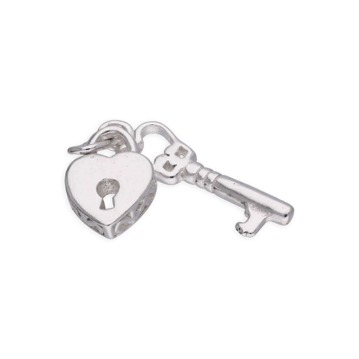 Small Sterling Silver Heart Padlock Key Charm