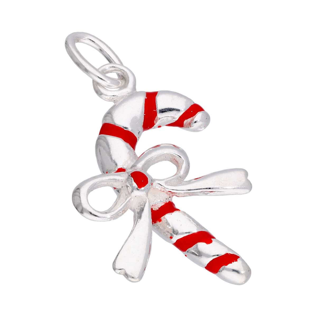 Sterling Silver Candy Cane Bow Red Enamel Charm