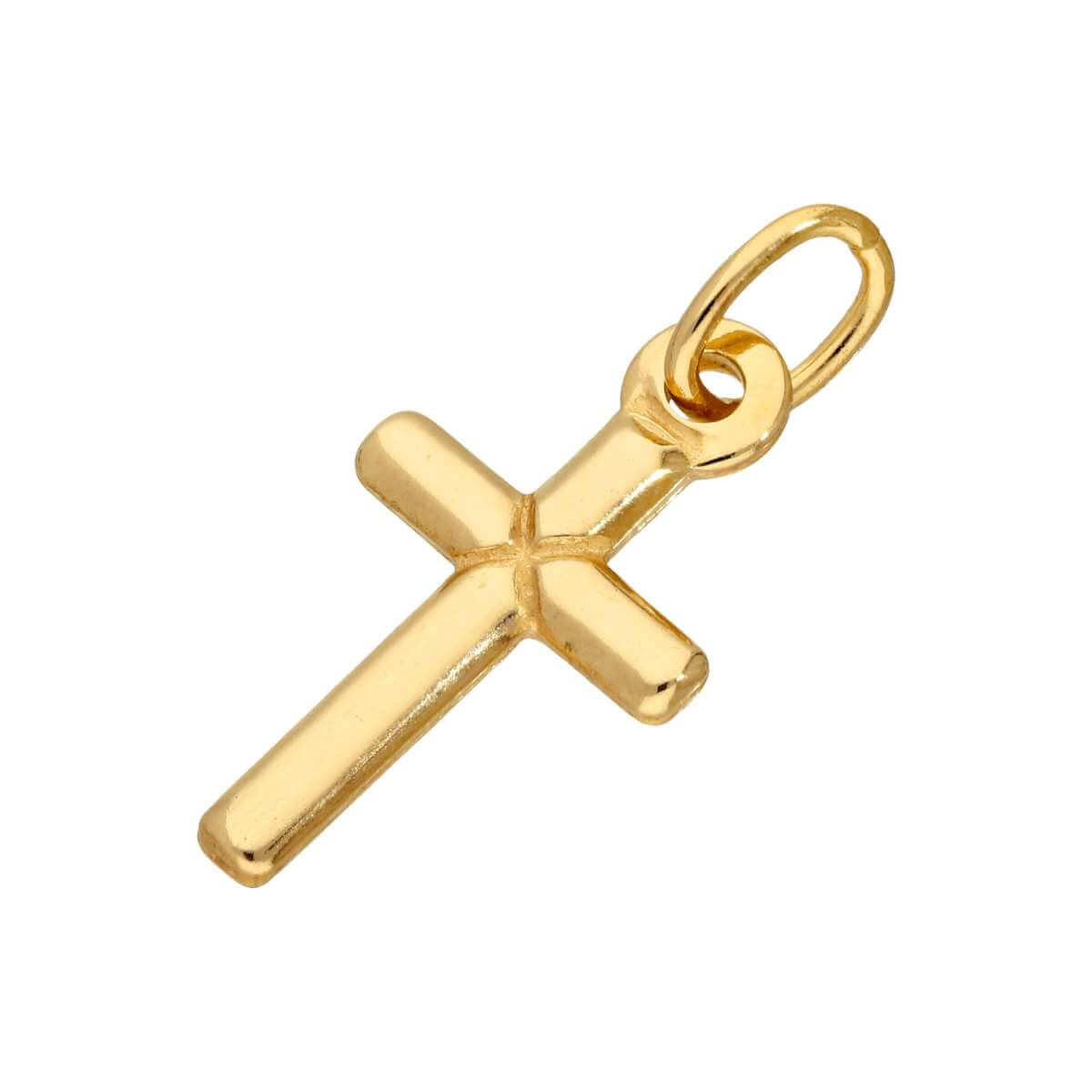 Gold Plated Small Plain Sterling Silver Cross Charm