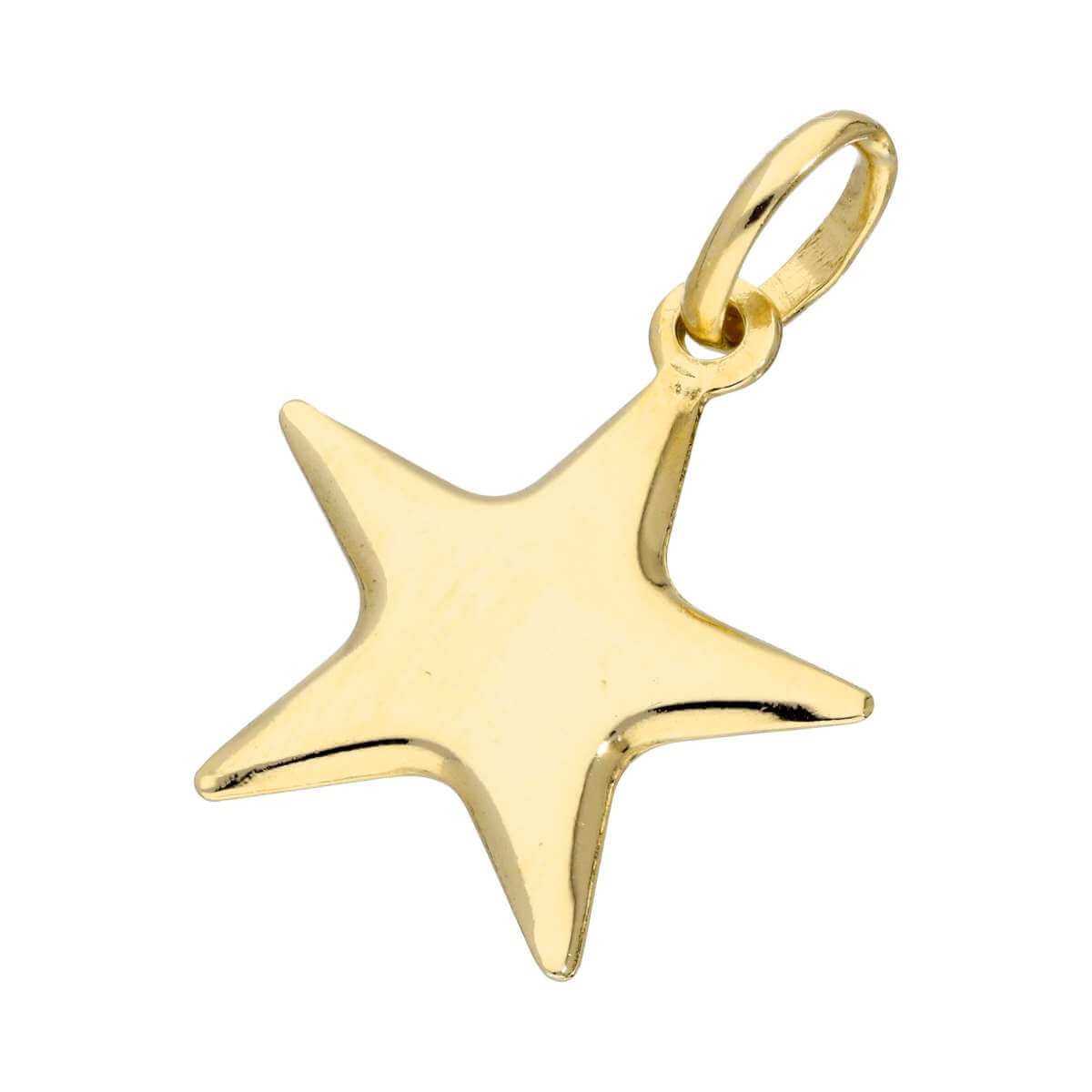 Gold Plated Sterling Silver Puffed Star Charm