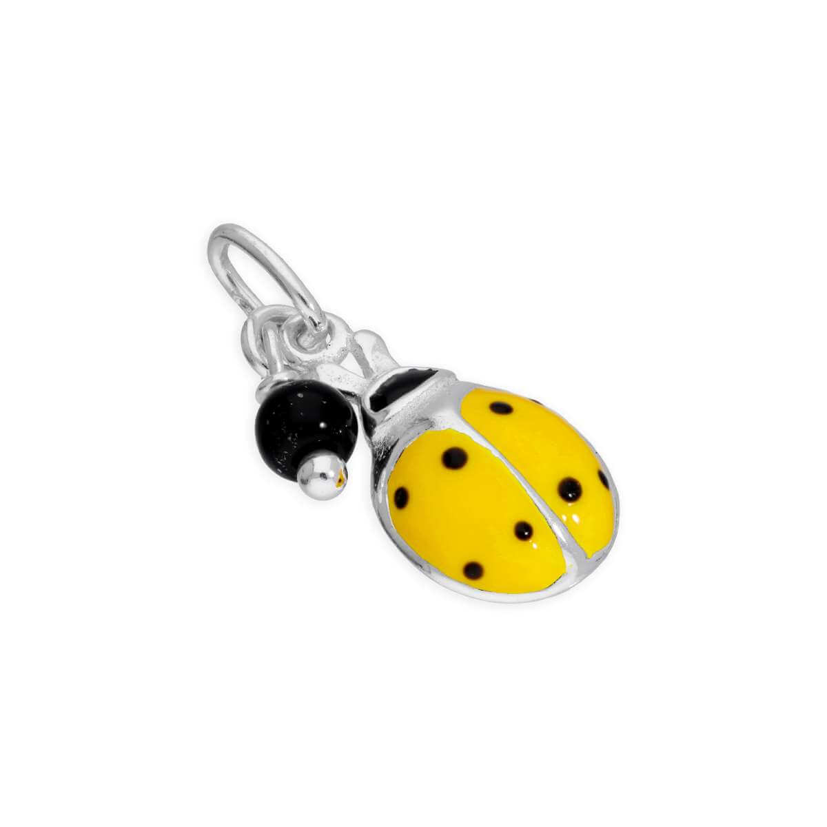 Sterling Silver Yellow Ladybird & Black Bead Charm