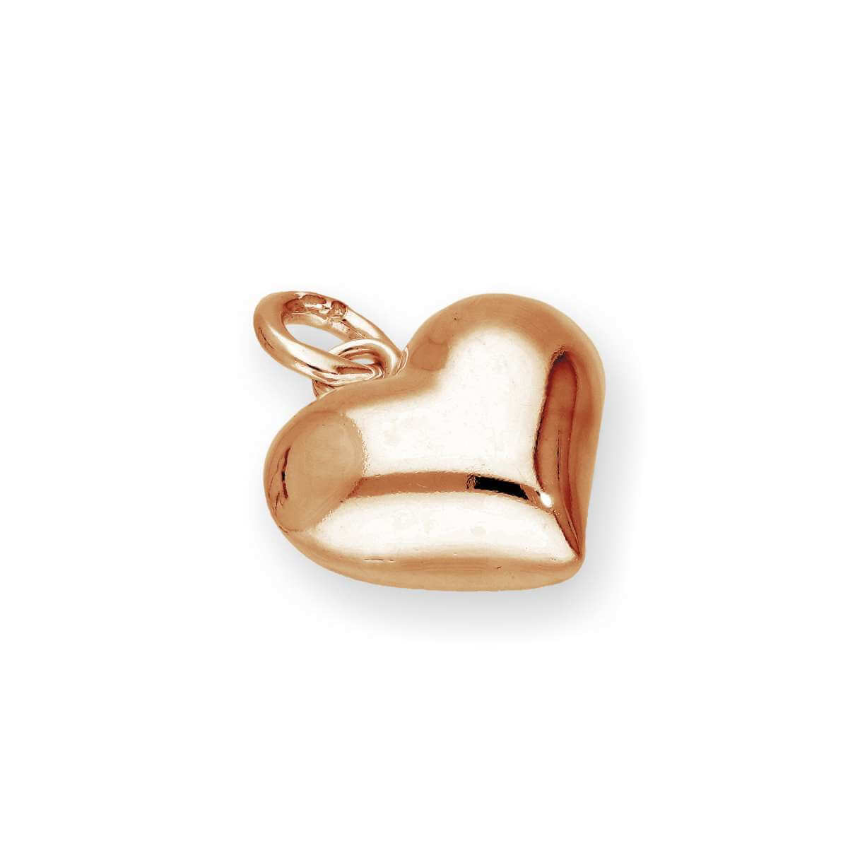 Rose Gold Plated Sterling Silver Puffed Heart Charm