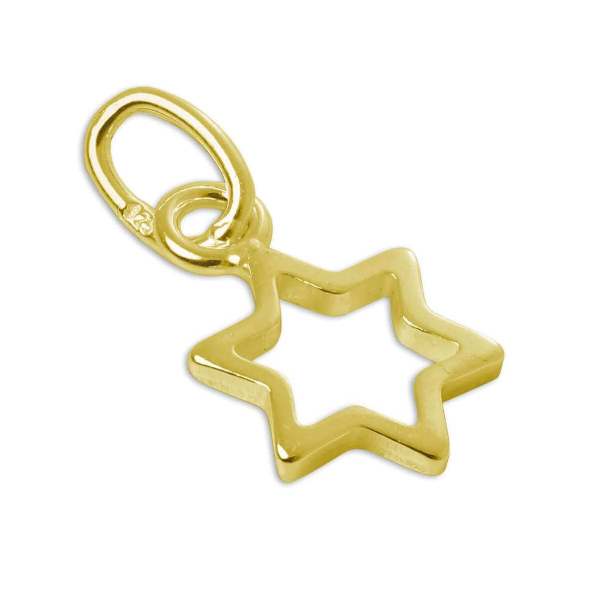 Gold Plated Tiny Sterling Silver Outline Star Charm