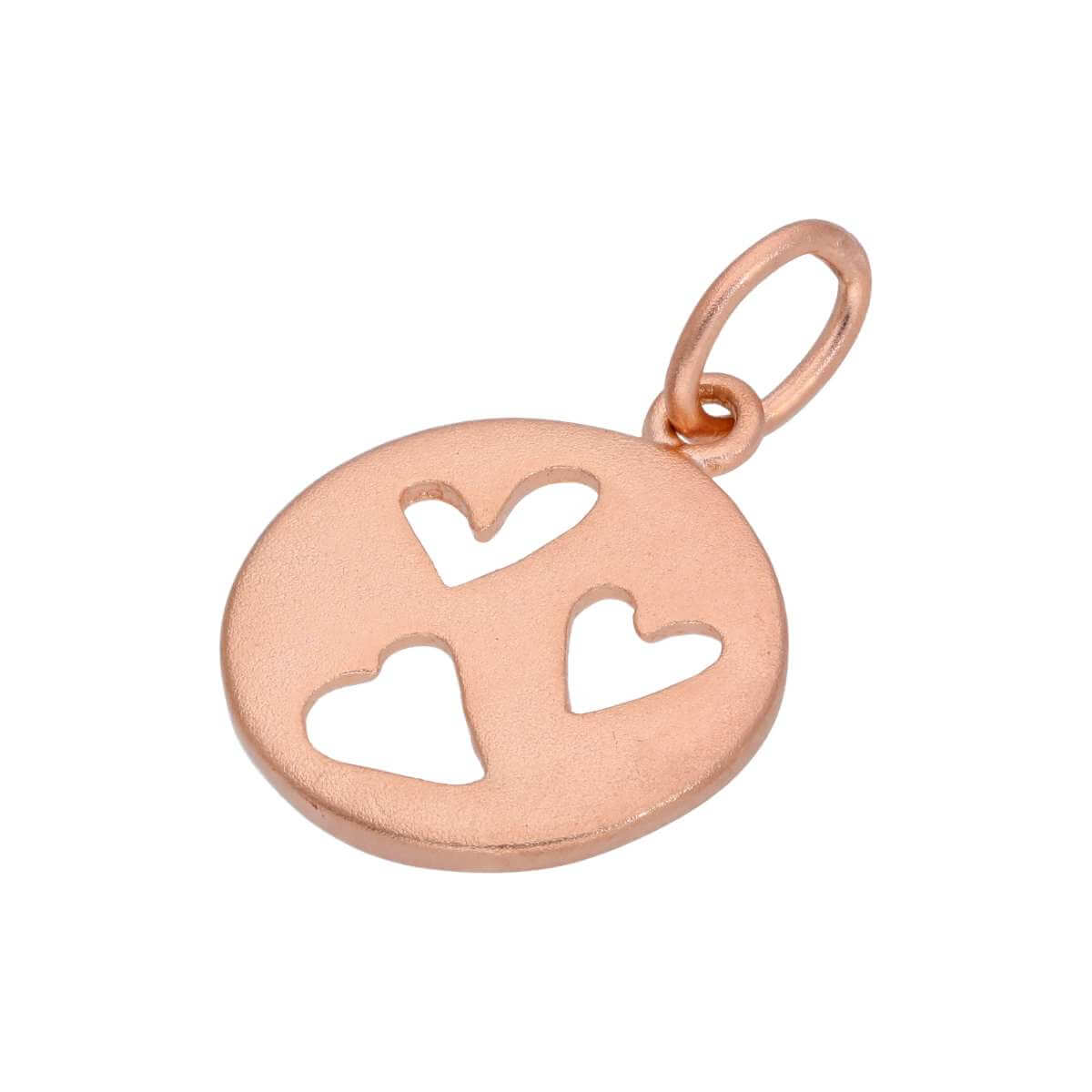 Small Rose Gold Plated Sterling Silver Round Heart Charm