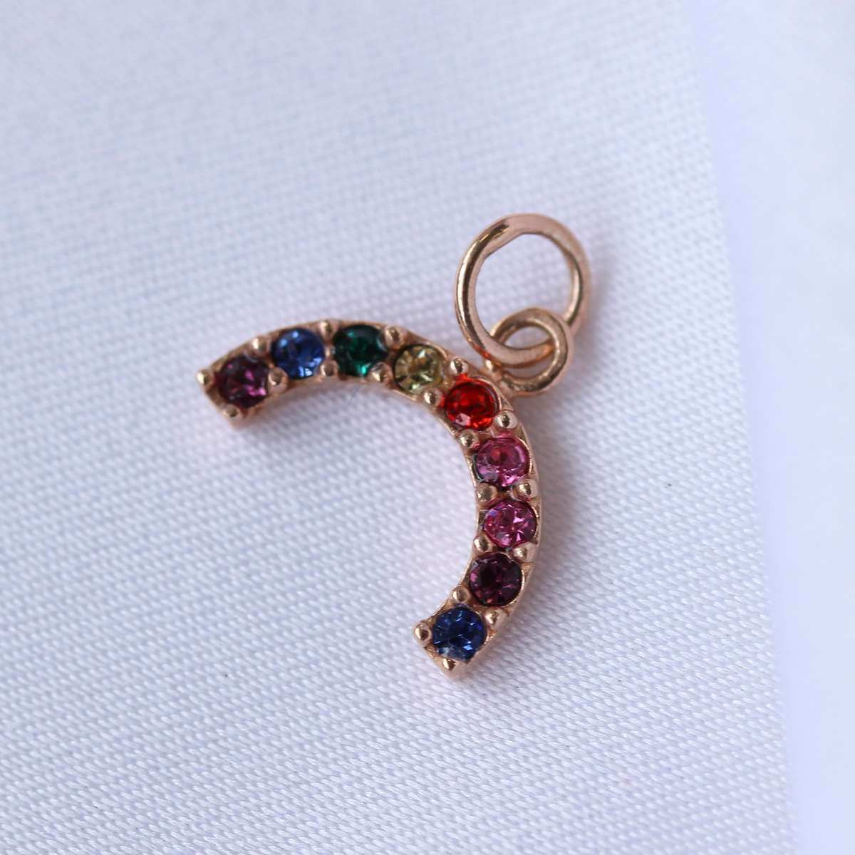 Rose Gold Plated Sterling Silver CZ Rainbow Charm