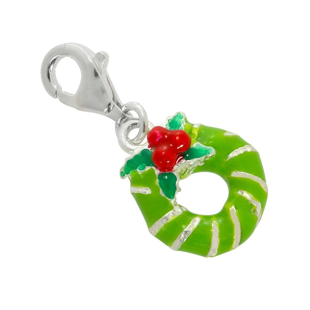 Sterling Silver & Enamel Christmas Wreath Clip on Charm