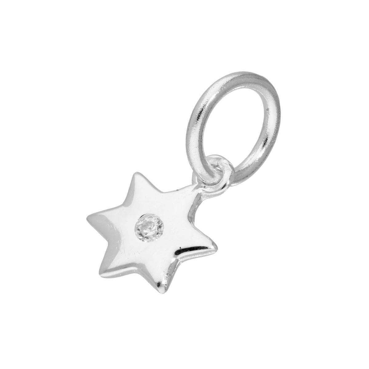Sterling Silver & Clear CZ Crystal Star Charm