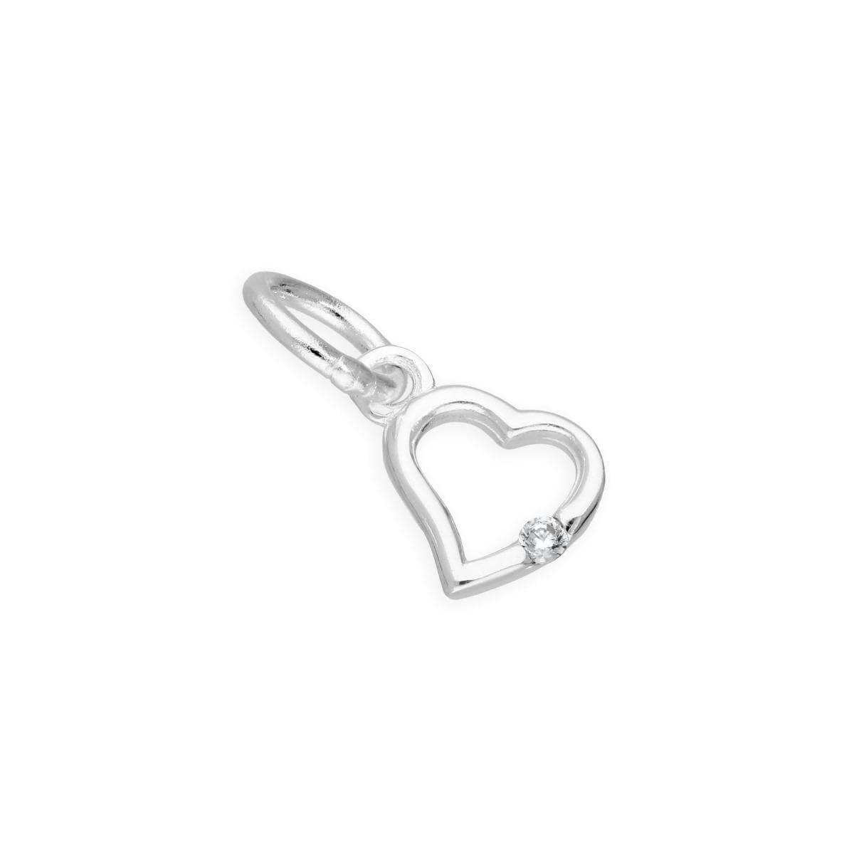 Sterling Silver & Clear CZ Crystal April Birthstone Heart Charm