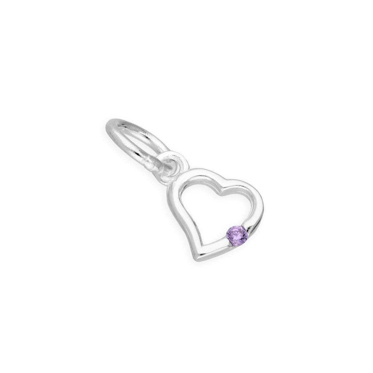 Sterling Silver & Alexandrite CZ Crystal June Birthstone Heart Charm