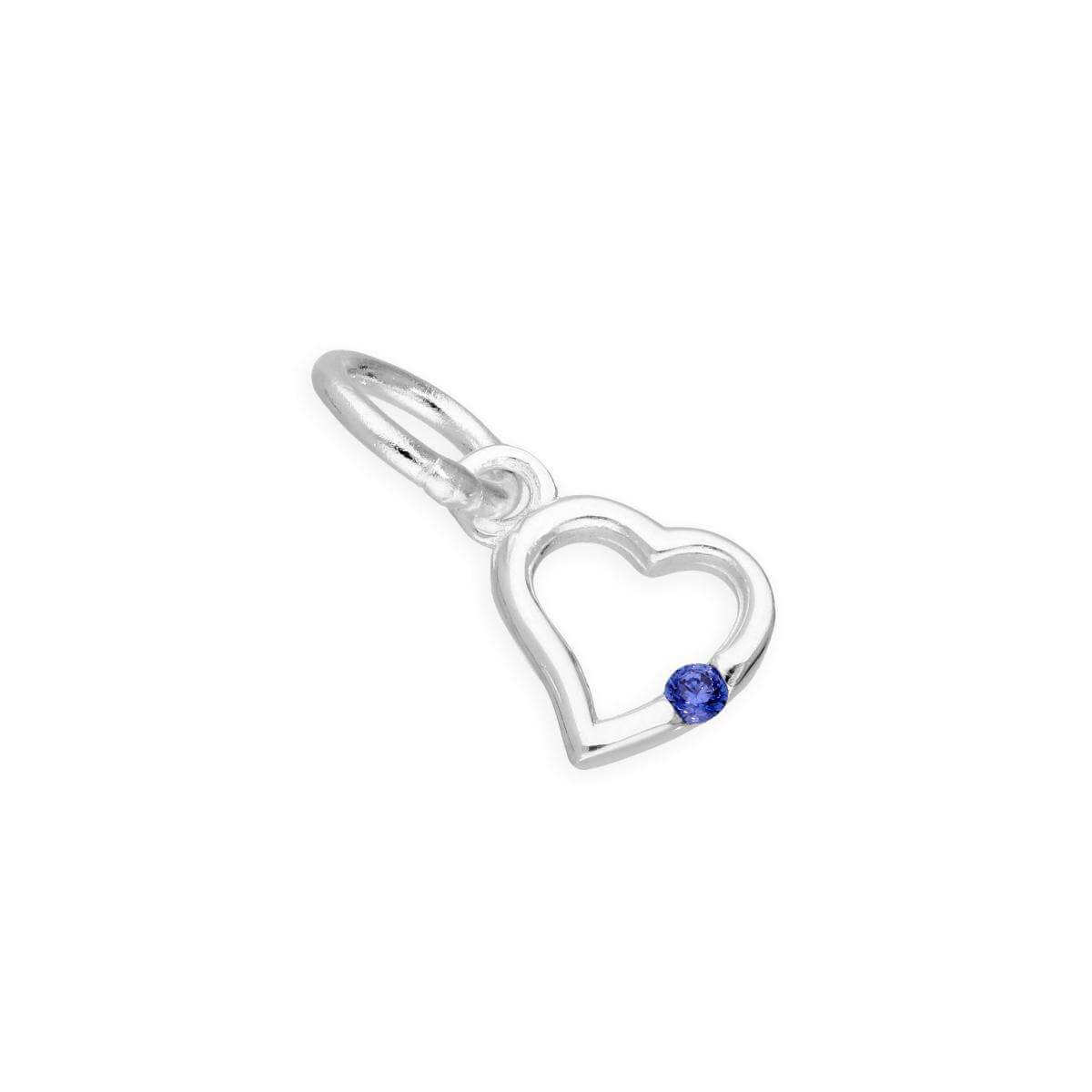 Sterling Silver & Sapphire CZ Crystal September Birthstone Heart Charm