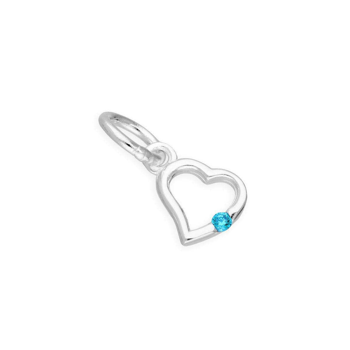 Sterling Silver & Blue Zircon CZ Crystal December Birthstone Heart Charm