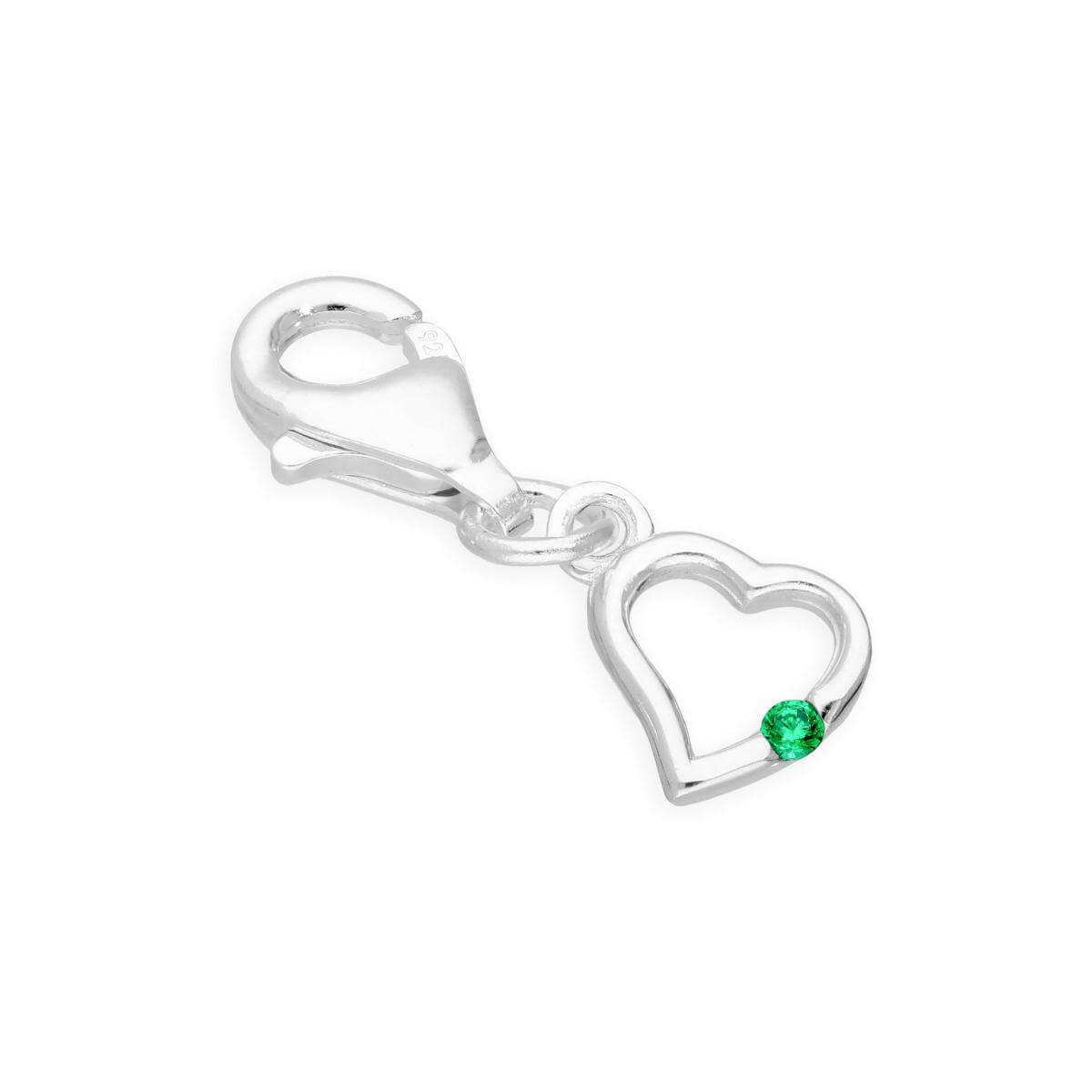 Sterling Silver & Emerald CZ Crystal May Birthstone Heart Clip on Charm