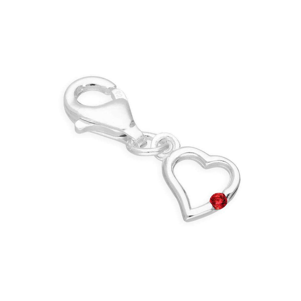 Sterling Silver & Ruby CZ Crystal July Birthstone Heart Clip on Charm