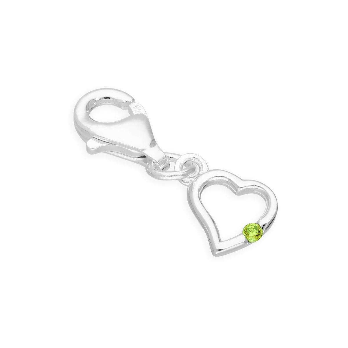 Sterling Silver & Peridot CZ Crystal August Birthstone Heart Clip on Charm