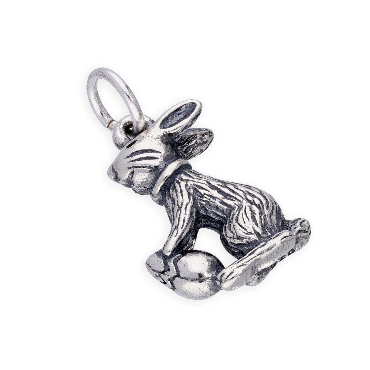 Sterling Silver Easter Bunny w Easter Egg Charm