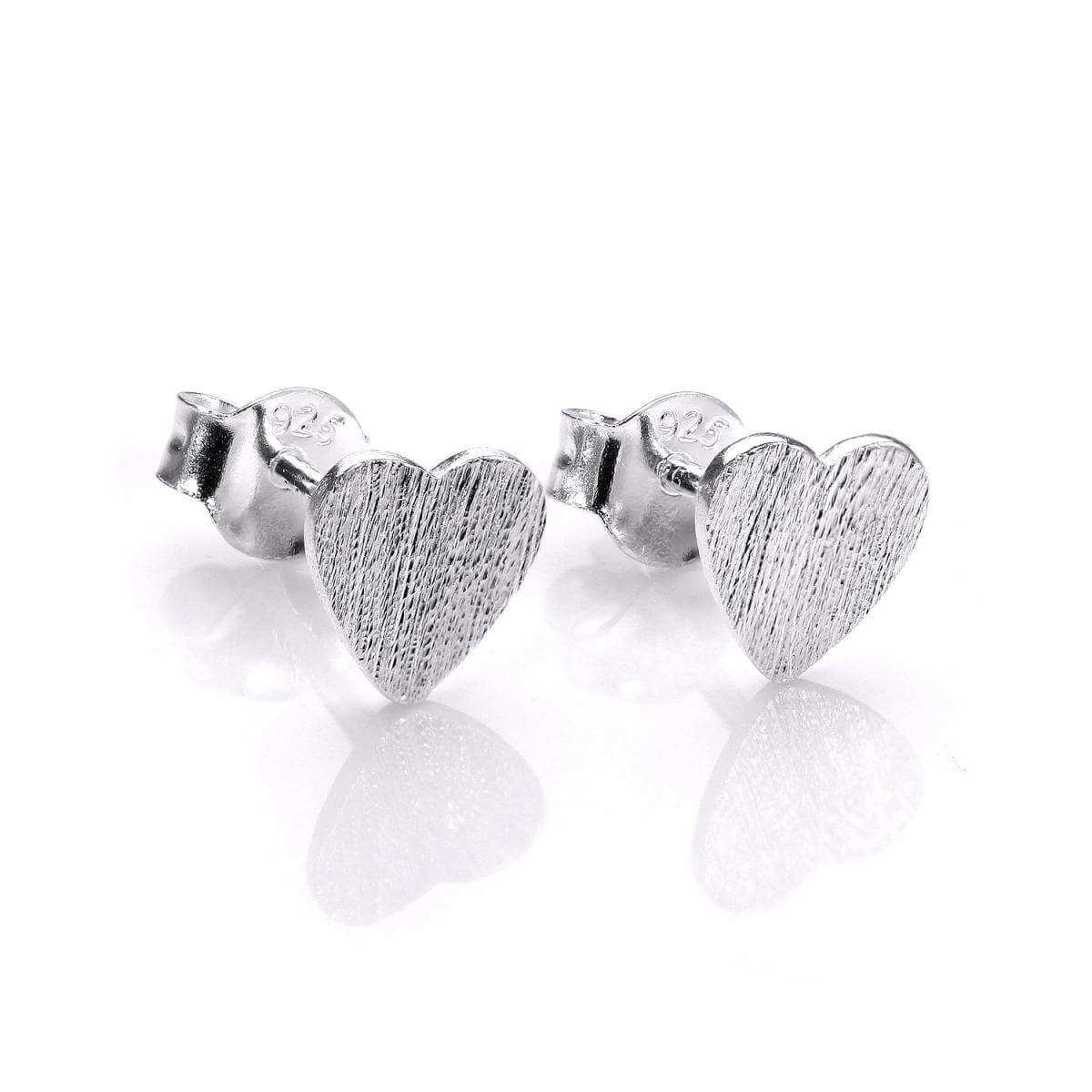 Brushed Sterling Silver Flat Heart Stud Earrings