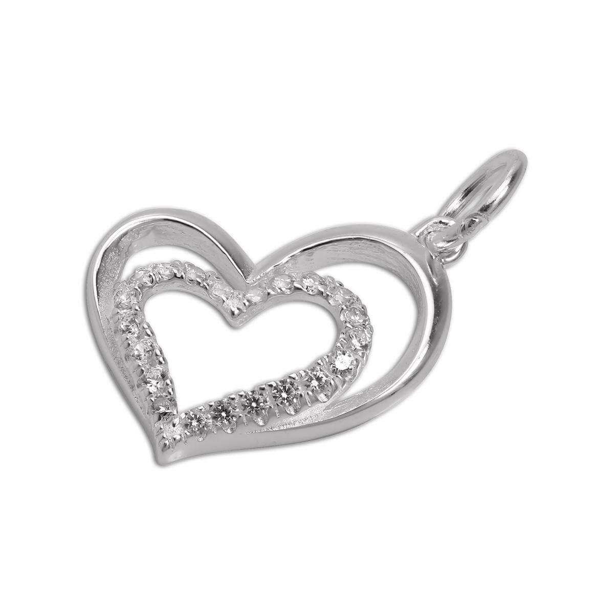 Sterling Silver & CZ Crystal Double Open Heart Charm
