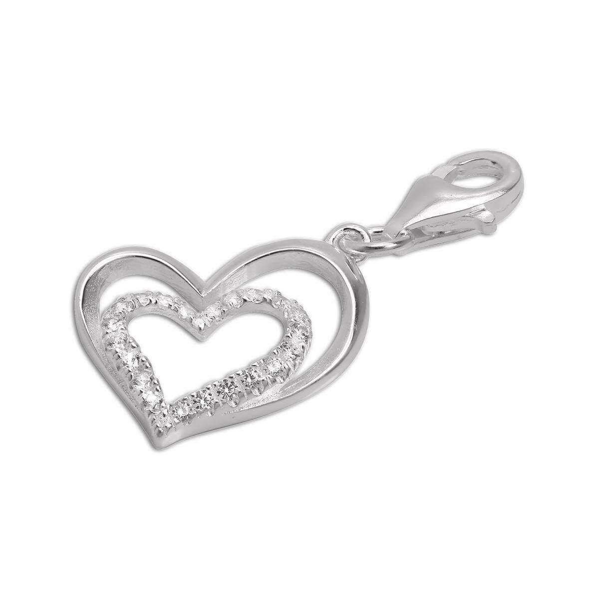 Sterling Silver & CZ Crystal Double Open Heart Clip on Charm