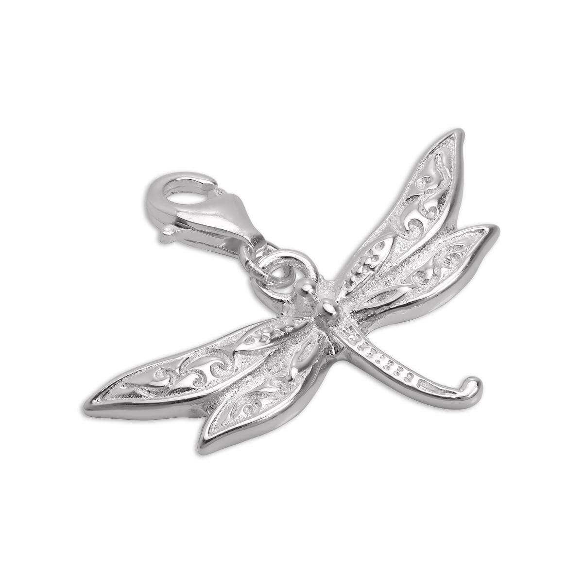 Large Sterling Silver Dragonfly Clip on Charm
