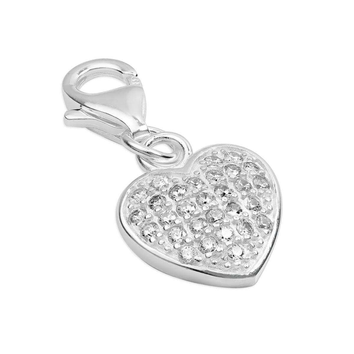 Sterling Silver CZ Crystal Encrusted Heart Clip on Charm
