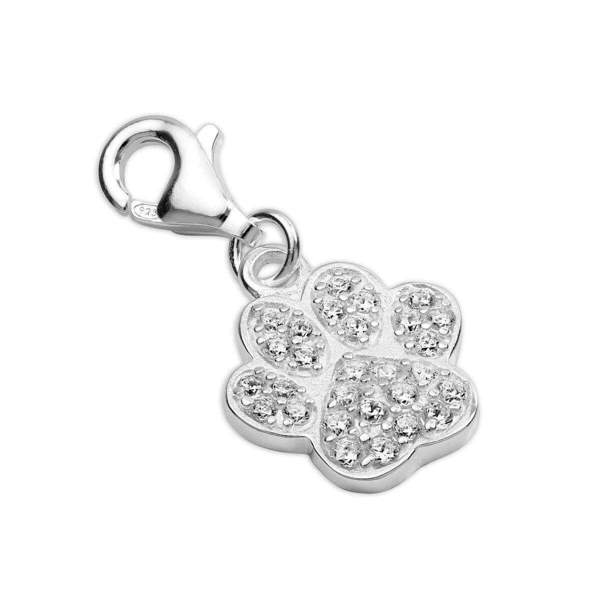 Sterling Silver CZ Crystal Encrusted Paw Print Clip on Charm