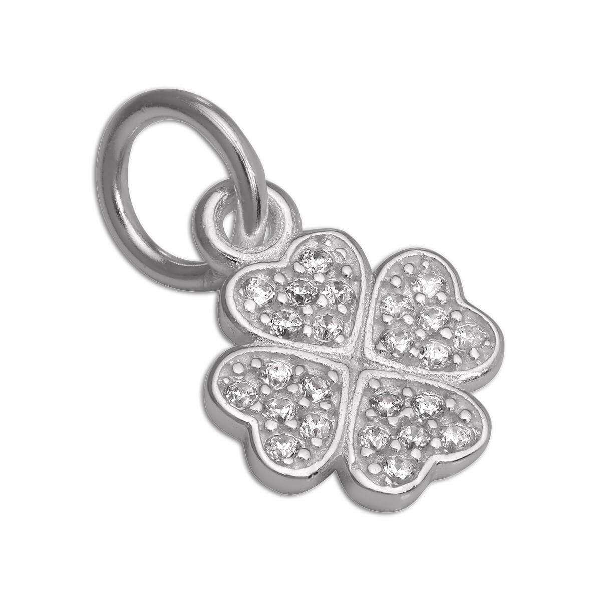 CZ Crystal Encrusted Sterling Silver Lucky 4 Leaf Clover Charm