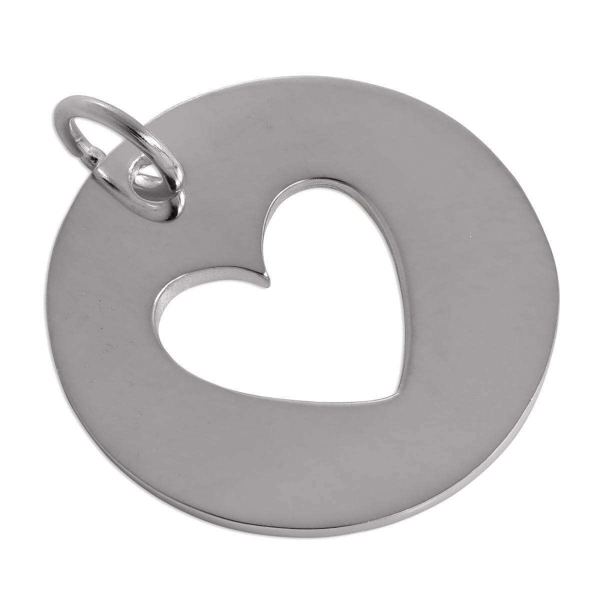 Large Sterling Silver Cut Out Heart Disc Charm