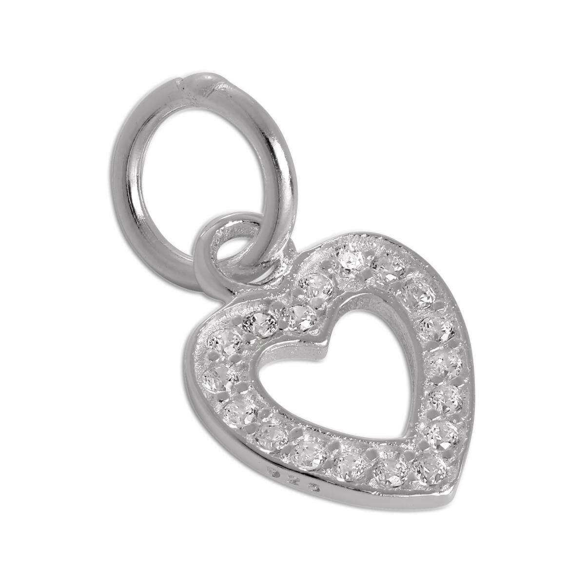 Sterling Silver & CZ Crystal Encrusted Open Heart Charm