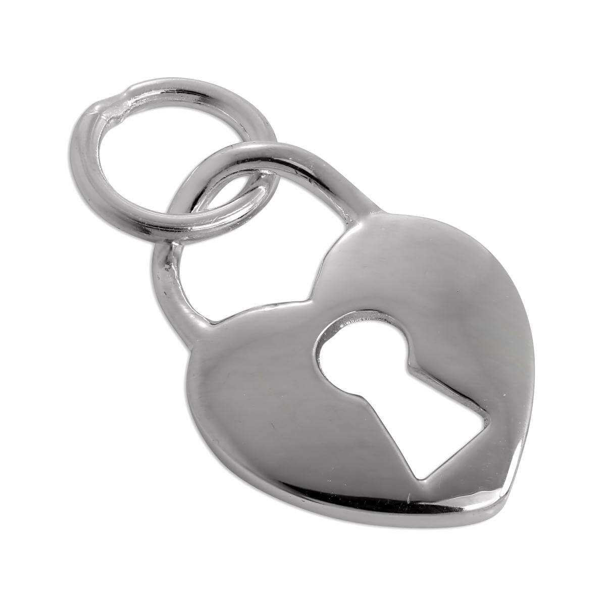 Sterling Silver Heart Padlock Charm