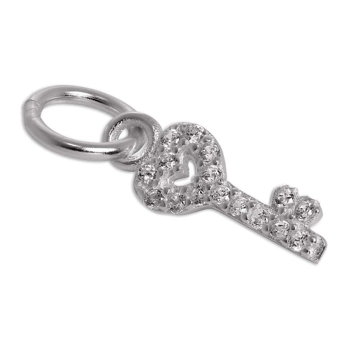 Sterling Silver & CZ Crystal Encrusted Heart Key Charm
