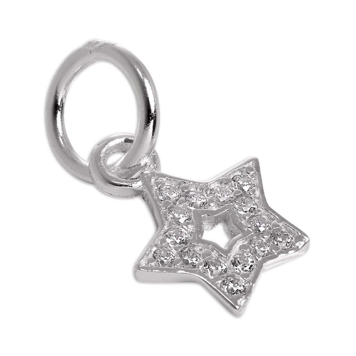 Small Sterling Silver CZ Crystal Encrusted Star Charm