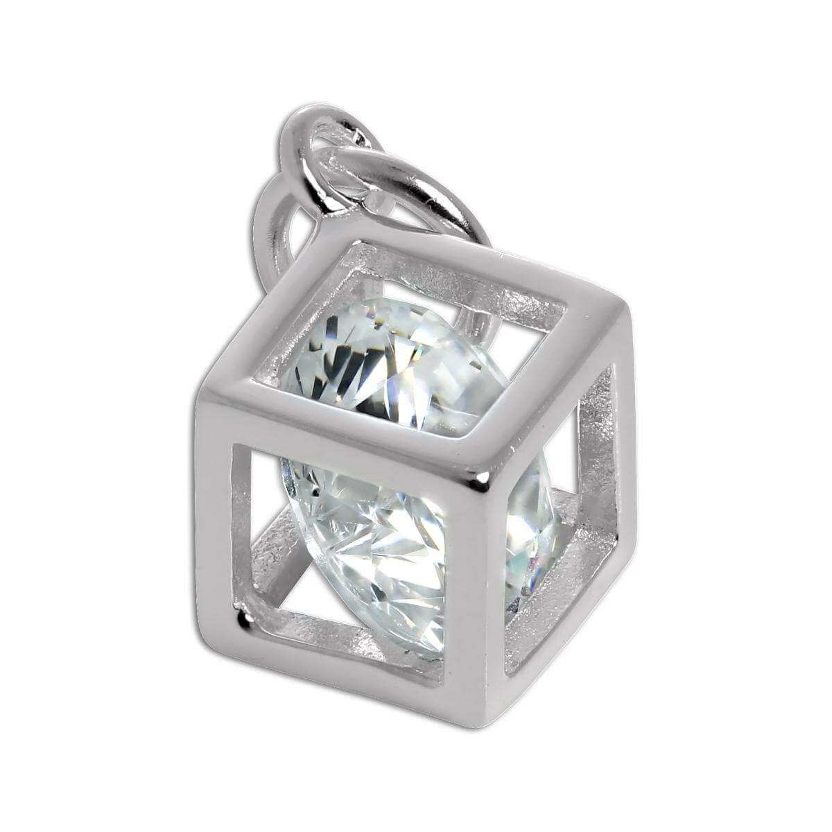 Sterling Silver Open Cube Charm with CZ Crystal