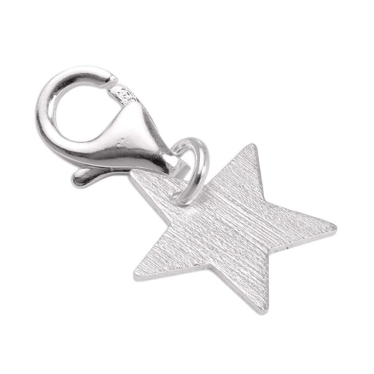 Brushed Sterling Silver Star Clip on Charm