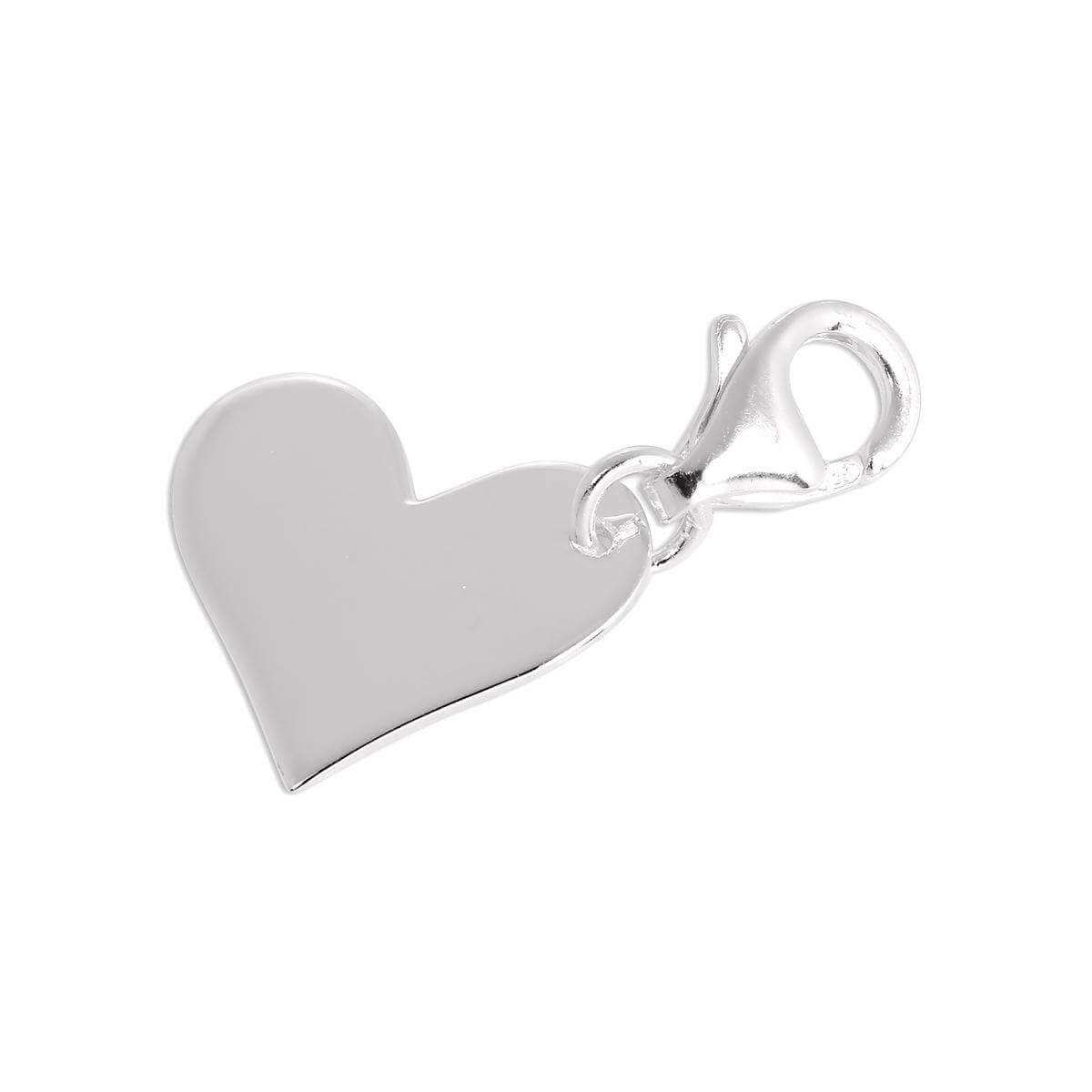Sterling Silver Flat Engravable Heart Clip on Charm