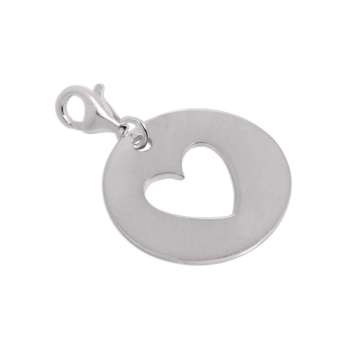 Large Sterling Silver Cut Out Heart Disc Clip on Charm