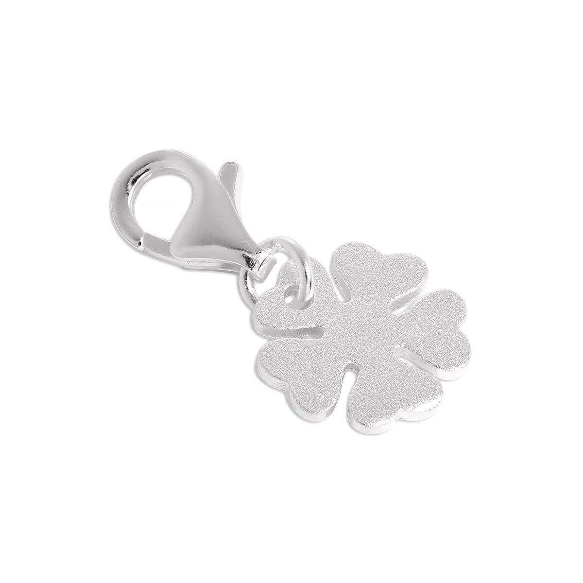 Brushed Sterling Silver Lucky 5 Leaf Clover Clip on Charm
