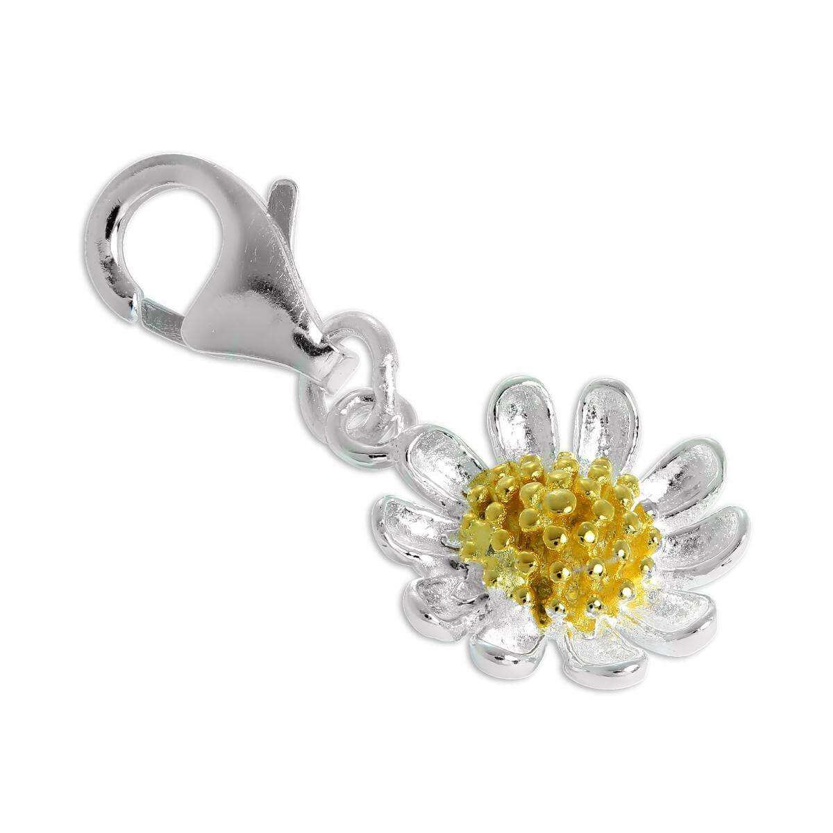 Gold Dipped & Sterling Silver Daisy Flower Clip on Charm