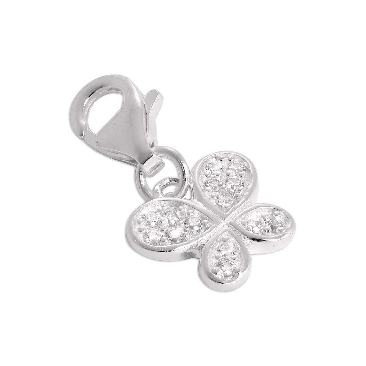 Sterling Silver CZ Crystal Encrusted Butterfly Clip on Charm
