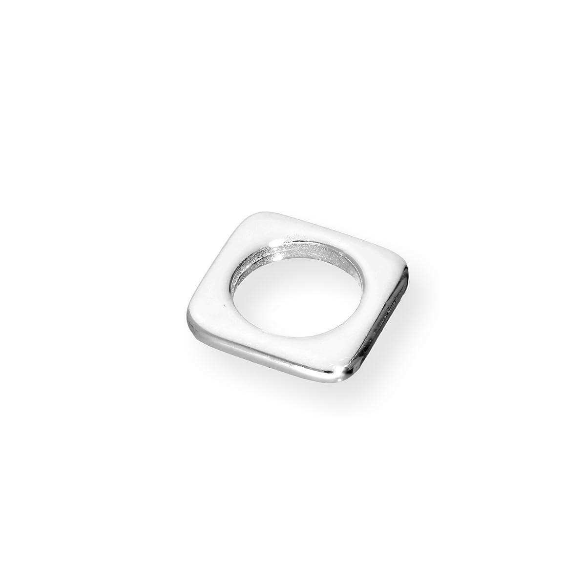 Slim Sterling Silver Square Bead Charm