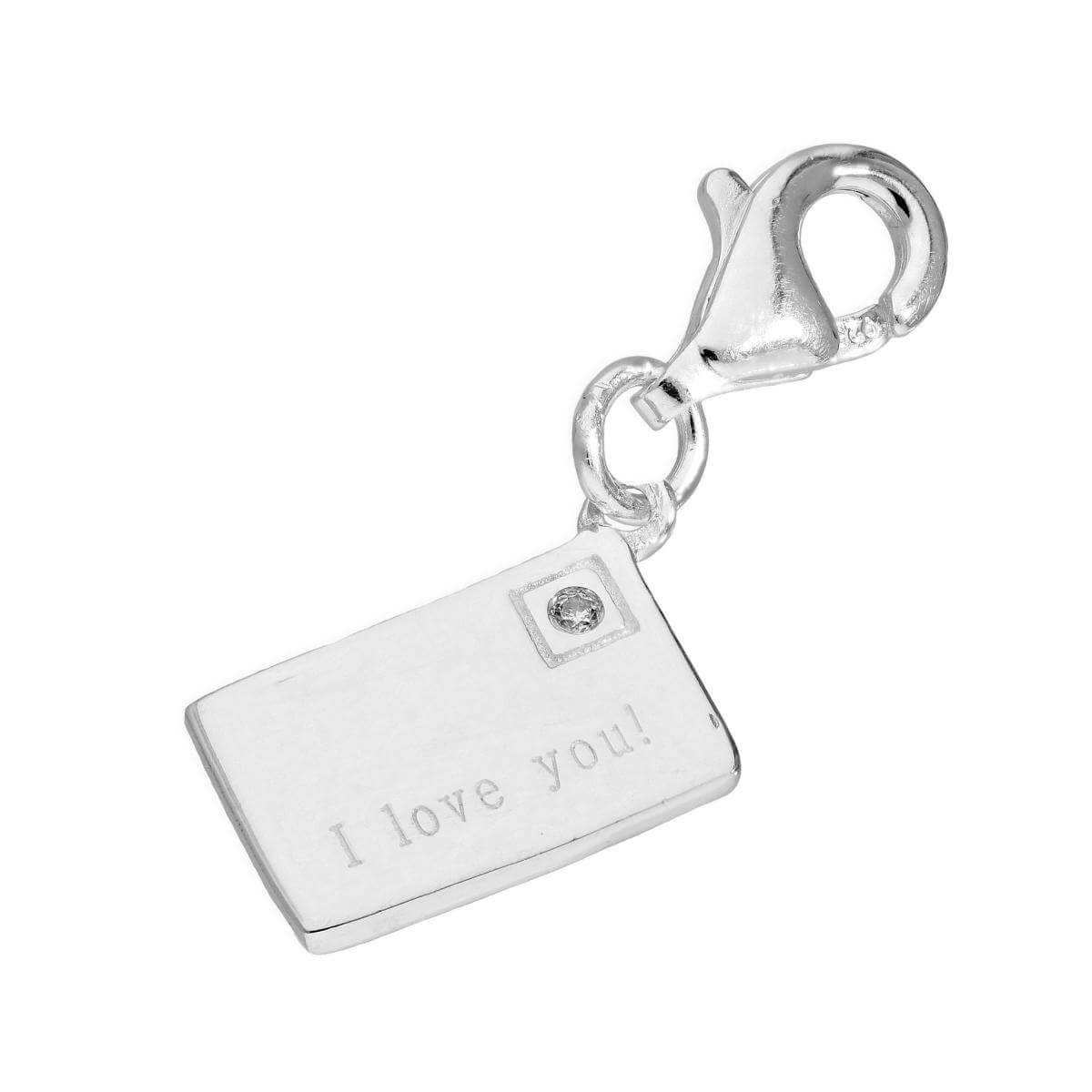 Sterling Silver I Love You Letter Clip on Charm