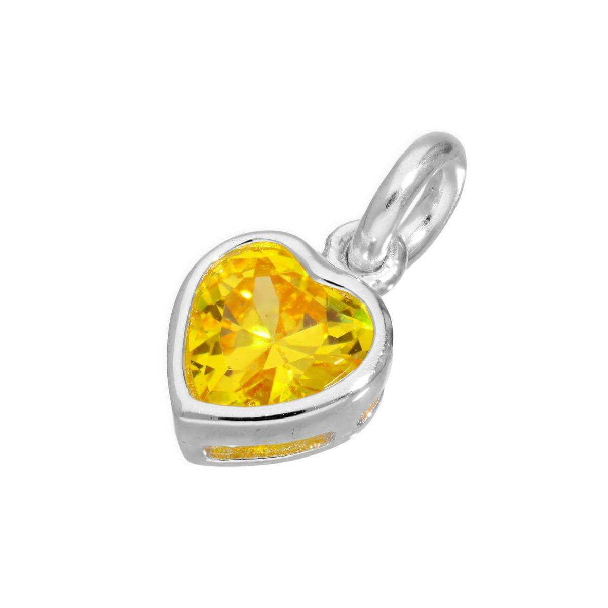 Sterling Silver & Yellow CZ Crystal Heart Charm