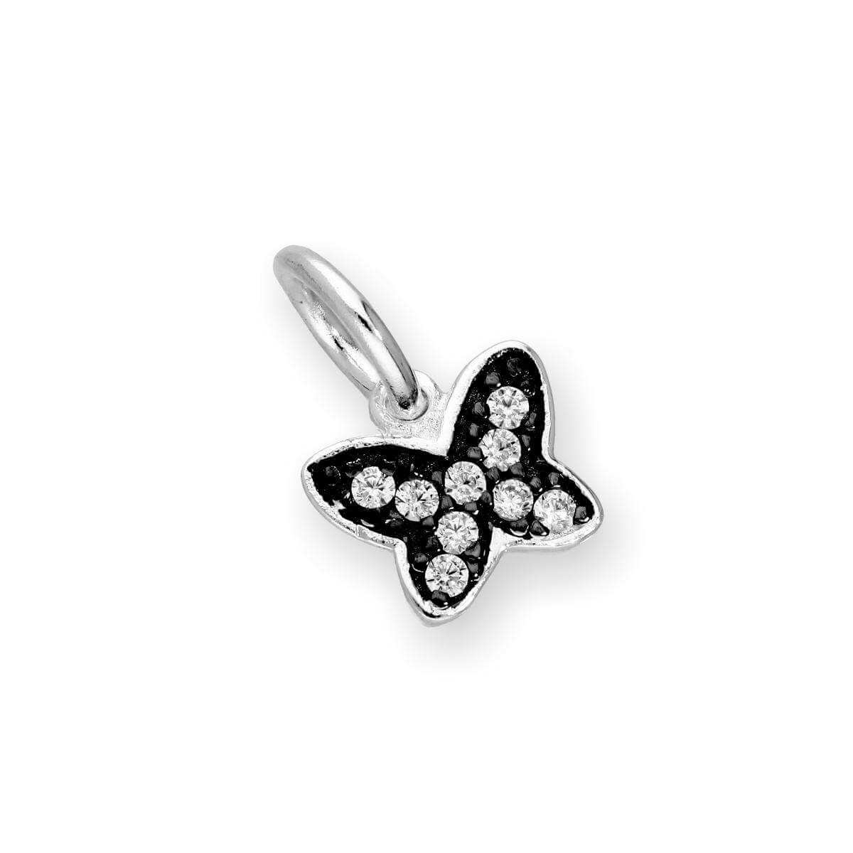 Sterling Silver & Clear CZ Crystal Butterfly Charm w Black Rhodium