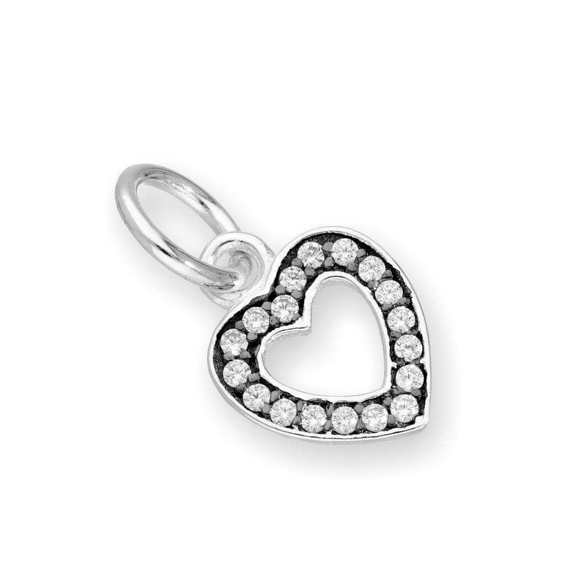 Sterling Silver & Clear CZ Crystal Open Heart Charm w Black Rhodium