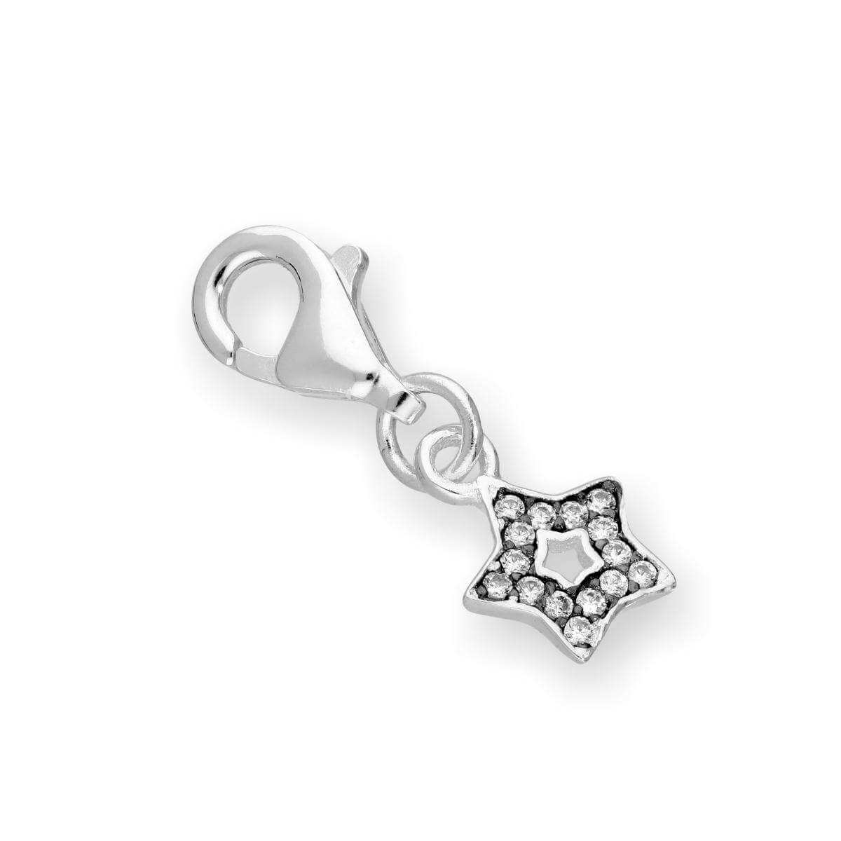 Sterling Silver & Clear CZ Crystal Open Star Clip On Charm w Black Rhodium