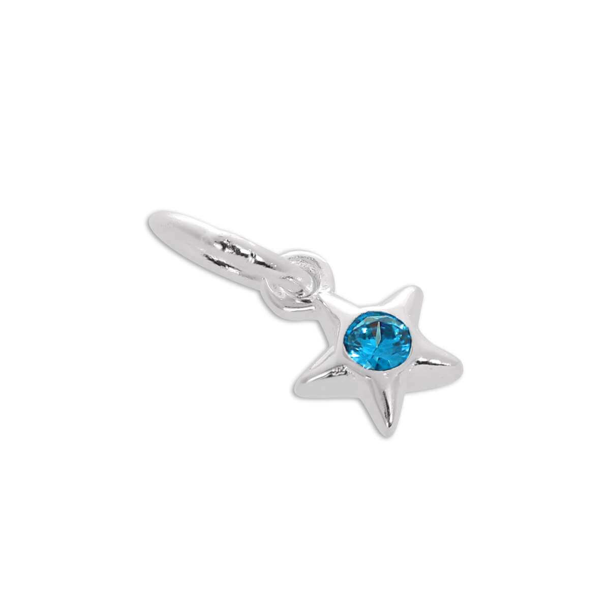Sterling Silver & Aquamarine CZ Crystal March Birthstone Star Charm