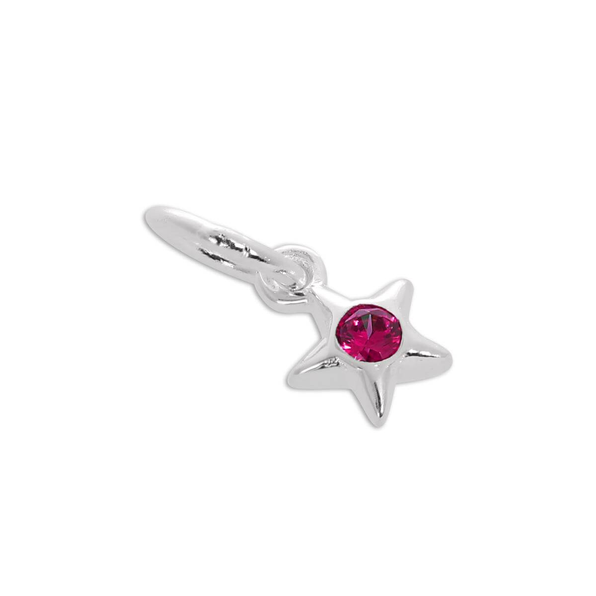 Sterling Silver & Ruby CZ Crystal July Birthstone Star Charm