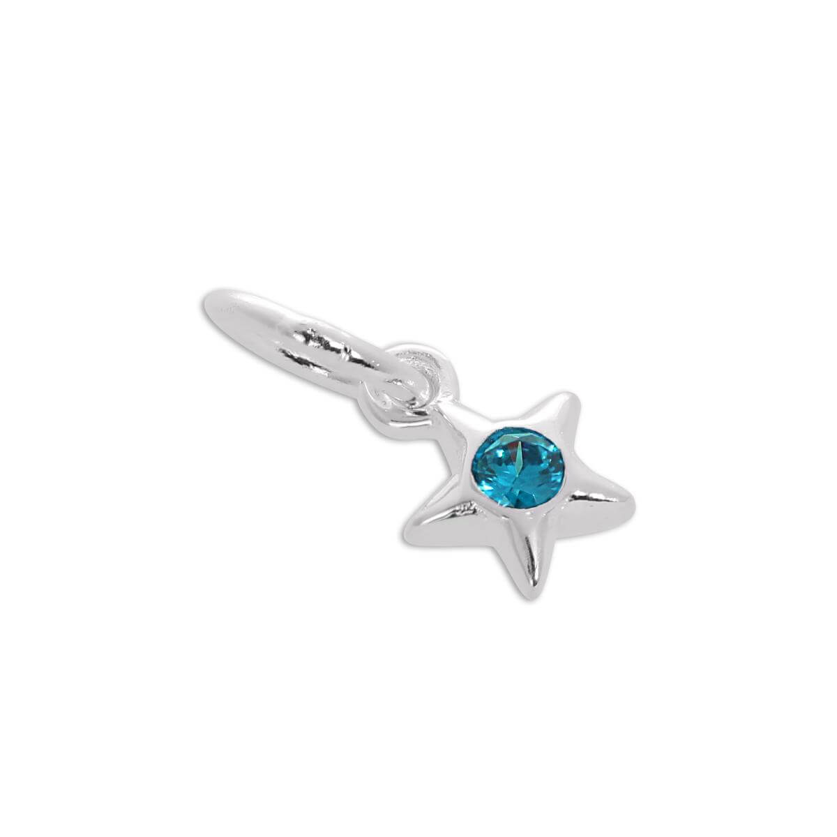 Sterling Silver & Turquoise CZ Crystal December Birthstone Star Charm