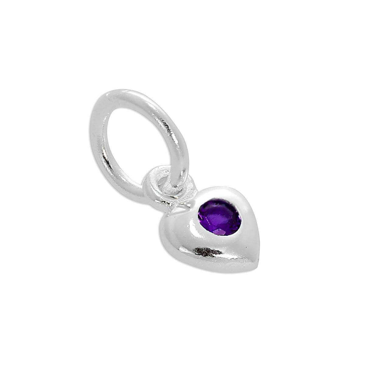 Sterling Silver & Amethyst CZ Crystal February Birthstone Heart Charm