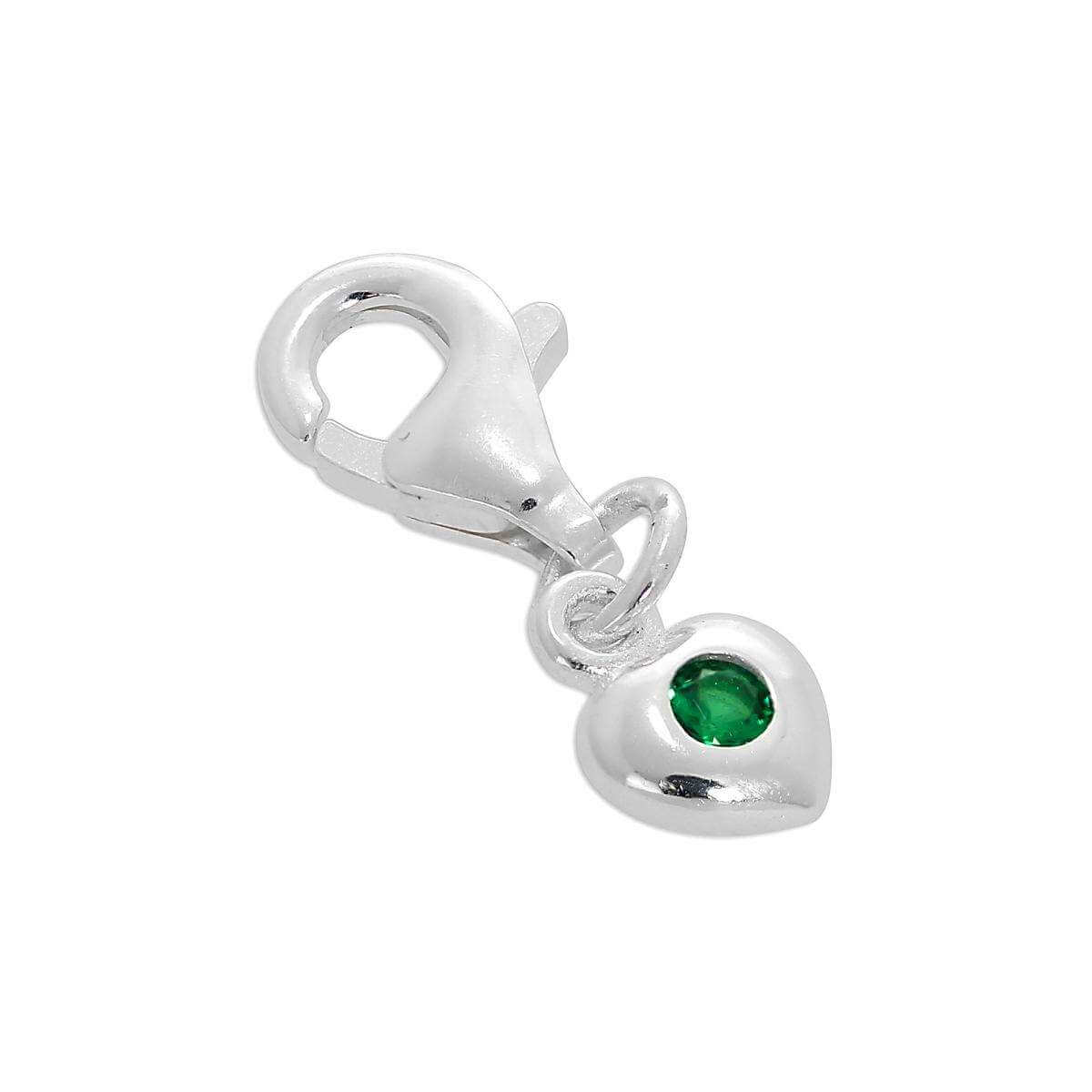 Sterling Silver & Emerald CZ Crystal May Birthstone Heart Clip-On Charm